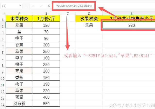 「Excel函数」2分钟学会SUMIF函数条件求和的8种技巧,100%用得到 图文