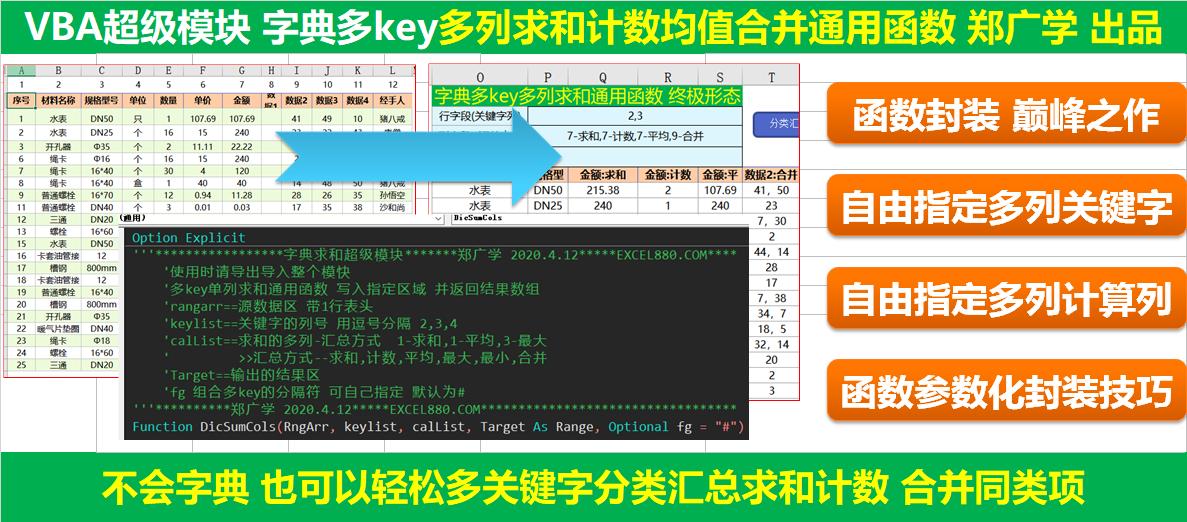 ExcelVba超级多列求和计数平均值最大最小合并同类项通用字典统计模板使用详解
